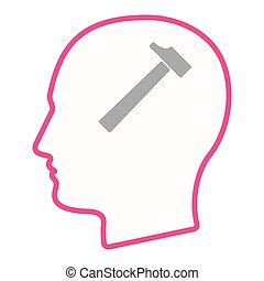Isolated male head silhouette icon with a hammer -...
