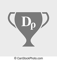 Isolated award cup icon with a drachma currency sign -...