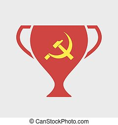 Isolated award cup icon with the communist symbol -...