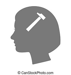 Isolated female head silhouette icon with a hammer -...