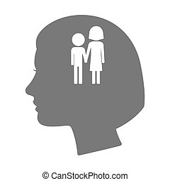 Isolated female head silhouette icon with a childhood...