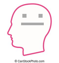Isolated male head silhouette icon with a emotionless text face