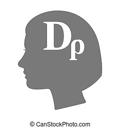 Isolated female head silhouette icon with a drachma currency...