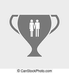 Isolated award cup icon with a heterosexual couple pictogram...