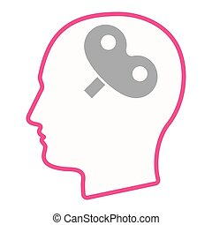 Isolated male head silhouette icon with a toy crank -...