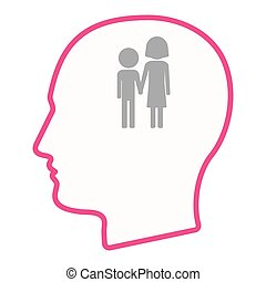 Isolated male head silhouette icon with a childhood...