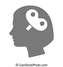 Isolated female head silhouette icon with a toy crank -...
