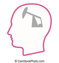 Isolated male head silhouette icon with a horsehead pump