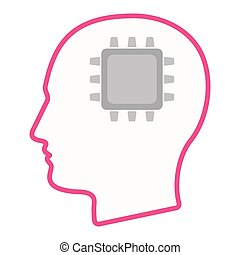 Isolated male head silhouette icon with a cpu - Illustration...