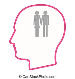 Isolated male head silhouette icon with a heterosexual...