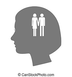 Isolated female head silhouette icon with a heterosexual...