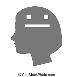 Isolated female head silhouette icon with a emotionless text face