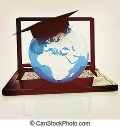 Global On line Education. 3D illustration. Vintage style.