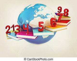 Global Education and numbers 1,2,3,4,5,6,7,8,9 3D...