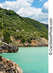 Coastline in the Gulf of La Spezia - Liguria Italy -...