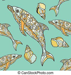 Vector seamless pattern with hand drawn dolphin doodle...