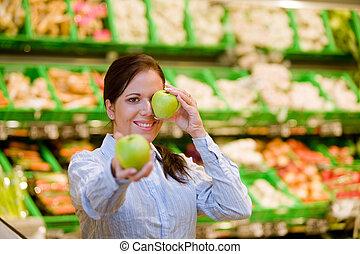 Inköp, grönsaken, frukt,  Supermarket