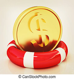 Coin dollar on lifeline 3D illustration Vintage style - Coin...