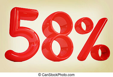 "3d red ""58"" - fifty eight percent. 3D illustration. Vintage..."