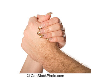 man and woman holding each others arms isolated