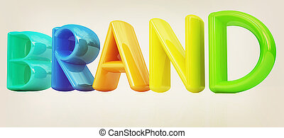 quot;brandquot; 3d colorful text 3D illustration Vintage...