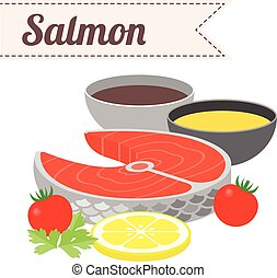 Vector Recipe Raw Salmon