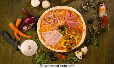 Tasty Italian Pizza, and ingredients on background - rustic...