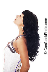 longo, cabelo, sorrindo, pretas, femininas, excitado