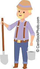 Man with shovel vector illustration. - Full length portrait...
