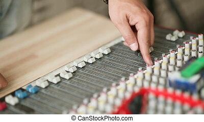 Hands men work with mixer, - Hands men work with mixer