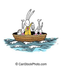 Cute little hares and hedgehog floating in a boat on the river.