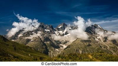 4K, Time Lapse, Cloud Formation At Col Du Lautaret, France -...