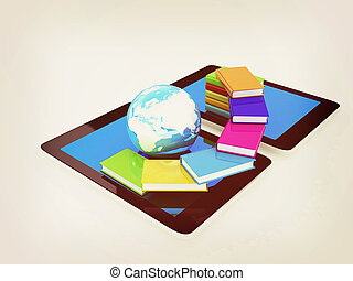 tablet pc and earth with colorful real books. 3D illustration. Vintage style.
