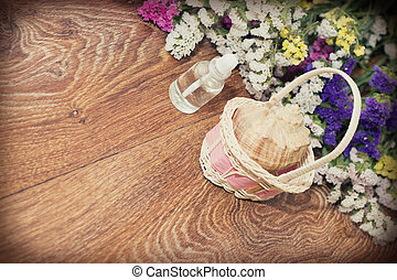 spa objects on a wooden background