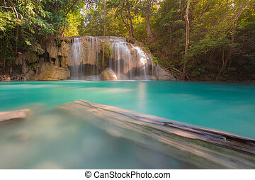 Deep forest blue stream waterfall, natural landscape...