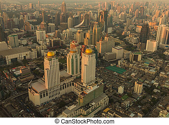 Arial view Bangkok city downtown during sunset