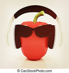 Bell peppers with sun glass and headphones front...