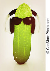 cucumber with sun glass and headphones front quot;facequot;...