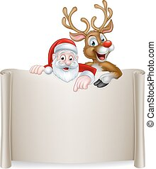 Christmas Santa Reindeer Scroll Background - An illustration...