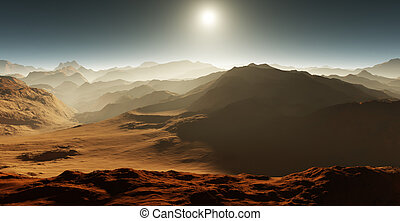Dust storm on Mars. Sunset on Mars. Martian landscape. 3D rendering