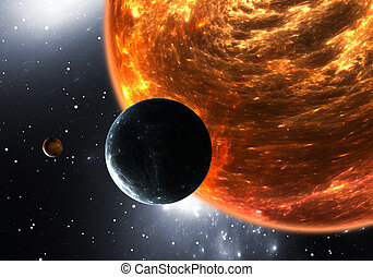 Extrasolar planets or exoplanets and red dwarf or red...