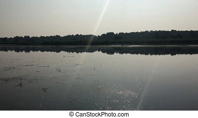 Early morning on the lake, nature sounds - large lake in the...