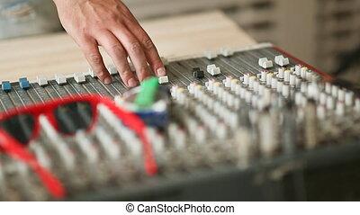 Hands men work with mixer,