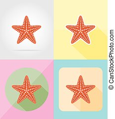 starfish flat icons vector illustration isolated on...
