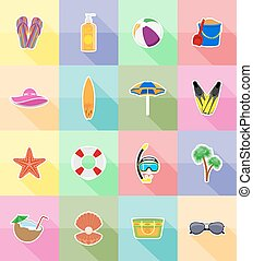 objects for recreation a beach flat icons vector...