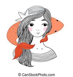 Beautiful young girl sailor and the Japanese carp Starfish...