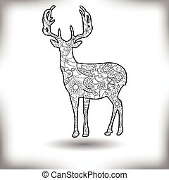 Deer painted silhouette isolated on white