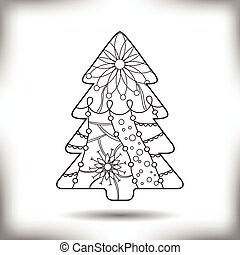 Christmas tree painted silhouette isolated on white