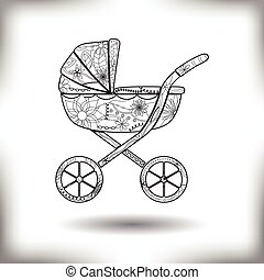 Baby carriage painted silhouette isolated on white - Vector...