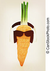 carrot with sun glass and headphones front quot;facequot; 3D...